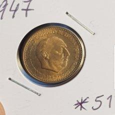 Monedas Franco: 1 PESETA 1947 *51 SC O PRÁCTICAMENTE SIN CIRCULAR. F. FRANCO. Lote 194976592