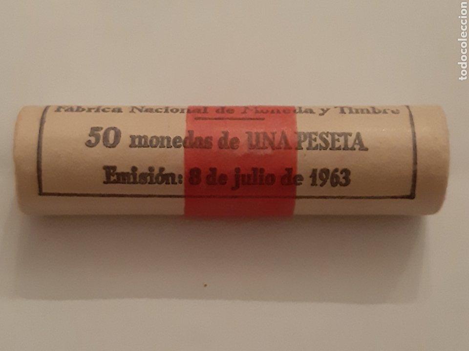 CARTUCHO UNA PESETA AÑO 1963 FNMT 50 MONEDAS (Numismática - España Modernas y Contemporáneas - Estado Español)