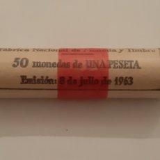 Monedas Franco: CARTUCHO UNA PESETA AÑO 1963 FNMT 50 MONEDAS. Lote 195331945
