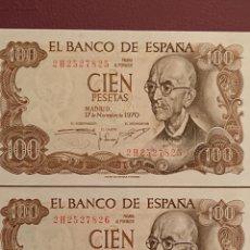 Monedas Franco: 2 BILLETES 100 PESETAS 1970 CORRELATIVOS SIN CIRCULAR. Lote 195432932