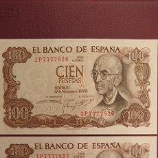 Monedas Franco: 2 BILLETES 100 PESETAS 1970 CORRELATIVOS. Lote 195433120
