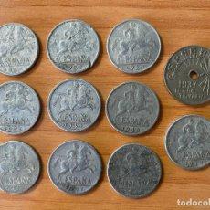 Monedas Franco: 10 MONEDAS 50 CÉNTIMOS 1940-1957 / 1 MONEDA 25 CÉNT. FALANGE 1937. Lote 195449838
