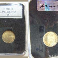 Monedas Franco: MONEDA DE 1 PESETA 1963 * 67 SIN CIRCULAR EN CAPSULA CERTIFICADA. Lote 195525457
