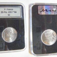 Monedas Franco: MONEDA DE ESTADO ESPAÑOL 25 PESETAS 1957 *66 SIN CIRCULAR EN CAPSULA CERTIFICADA. Lote 195525608