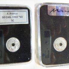 Monedas Franco: MONEDA DE ESTADO ESPAÑOL 50 CENTIMOS 1963 *63 SIN CIRCULAR EN CAPSULA CERTIFICADA. Lote 195525673