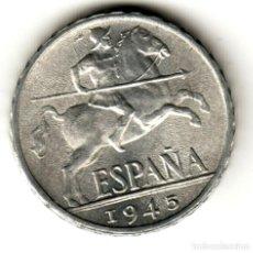 Monete Franco: ESPAÑA 10 CENTIMOS ALUMNIO 1945 JINETE IBERICO CALIDAD SIN CIRCULAR. Lote 195613878
