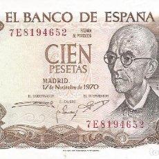 Monedas Franco: BILLETE 100 PESETAS 1970 MANUEL DE FALLA SIN CIRCULAR - SC. Lote 195621508