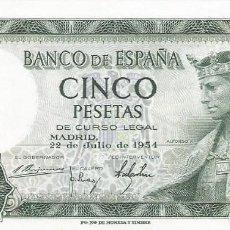 Monedas Franco: BILLETE 5 PESETAS 1954 SIN CIRCULAR - SC. Lote 195622607