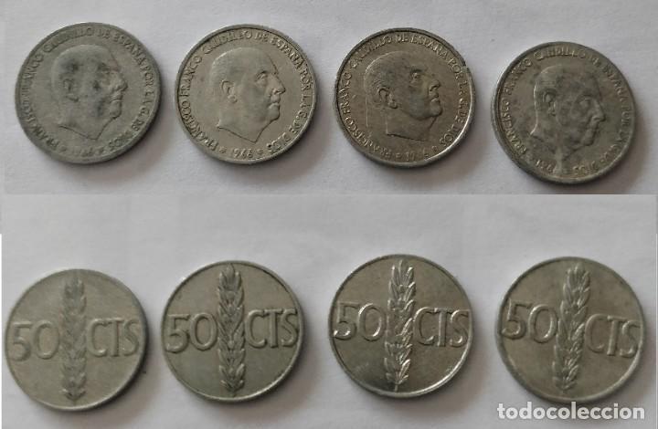 4 MONEDAS DE 50 CÉNTIMOS DE FRANCO DE 1966 (Numismática - España Modernas y Contemporáneas - Estado Español)