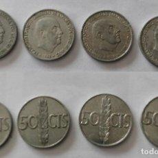 Monedas Franco: 4 MONEDAS DE 50 CÉNTIMOS DE FRANCO DE 1966. Lote 195878565