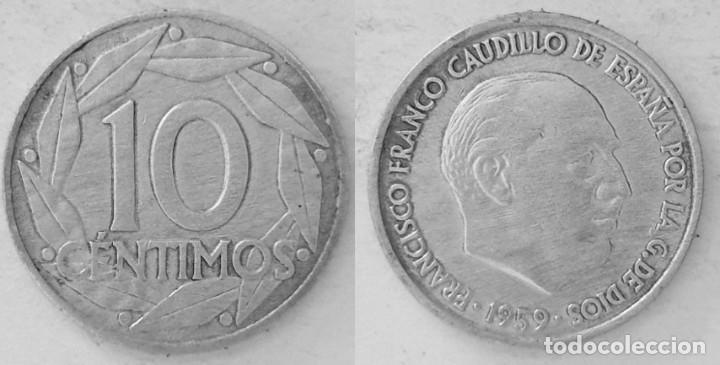 ESPAÑA 10 CÉNTIMOS 1959 - KM # 790 (Numismática - España Modernas y Contemporáneas - Estado Español)