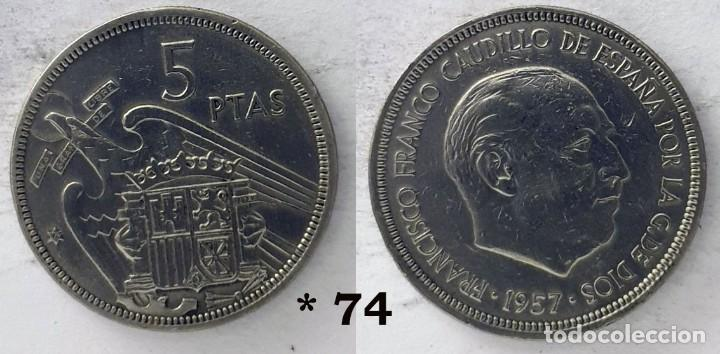 ESPAÑA 5 PESETAS, 1957 *74 - KM# 786 (Numismática - España Modernas y Contemporáneas - Estado Español)
