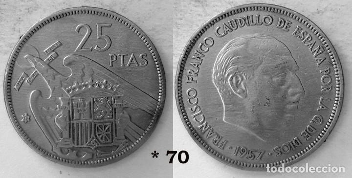 ESPAÑA 5 PESETAS, 1957 *70 - KM# 786 (Numismática - España Modernas y Contemporáneas - Estado Español)