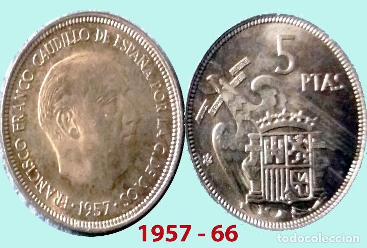 FRANCO 5 PESETAS NIQUEL DEL ESTADO ESPAÑOL DE 1957*66 SC SIN CIRCULAR !!! (Numismática - España Modernas y Contemporáneas - Estado Español)