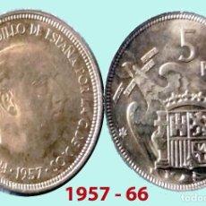 Monedas Franco: FRANCO 5 PESETAS NIQUEL DEL ESTADO ESPAÑOL DE 1957*66 SC SIN CIRCULAR !!!. Lote 198862395