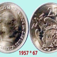 Monedas Franco: FRANCO 25 PESETAS NIQUEL DEL ESTADO ESPAÑOL DE 1957*67 SC. SIN CIRCULAR. CATº. 50 €. Lote 198952051