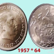 Monedas Franco: FRANCO 25 PESETAS NIQUEL DEL ESTADO ESPAÑOL DE 1957*64 SC. SIN CIRCULAR. CATº. 45 €. Lote 198952570