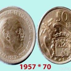 Monedas Franco: FRANCO 50 PESETAS NIQUEL DEL ESTADO ESPAÑOL DE 1957*70 SC. SIN CIRCULAR. CATº. 300 €. Lote 198953761