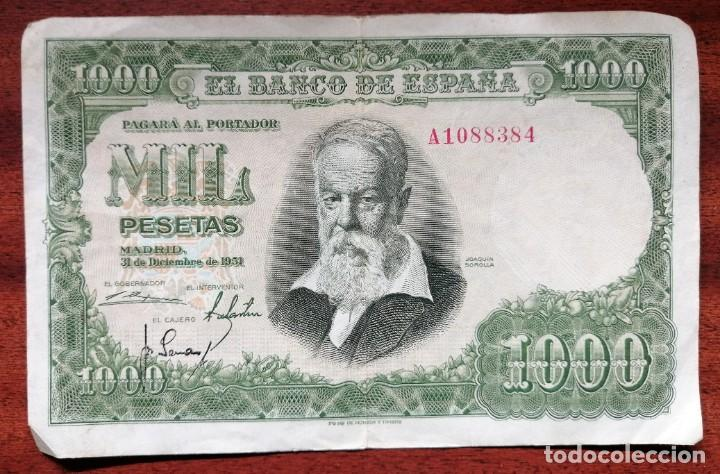 BILLETE DE 1000 PESETAS. BANCO DE ESPAÑA. MADRID, 31 DICIEMBRE DE 1951. JOAQUIN SOROLLA (Numismática - España Modernas y Contemporáneas - Estado Español)