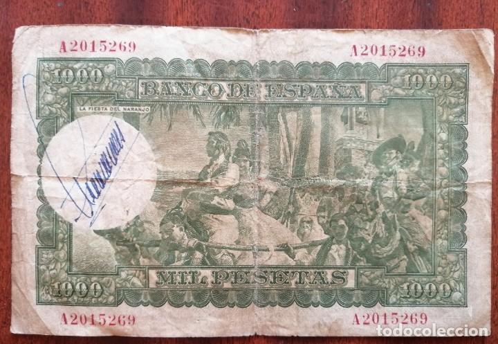 Monedas Franco: BILLETE DE 1000 PESETAS. BANCO DE ESPAÑA. MADRID, 31 DICIEMBRE DE 1951. JOAQUIN SOROLLA - Foto 2 - 199142133