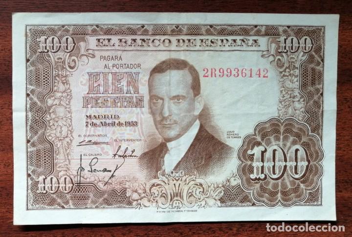 BILLETE DE 100 PESETAS. BANCO DE ESPAÑA. MADRID, 7 ABRIL DE 1953. JULIO ROMERO DE TORRES (Numismática - España Modernas y Contemporáneas - Estado Español)