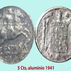 Monedas Franco: ESTADO ESPAÑOL (FRANCO) 5 CENTIMOS 1941 ALUMINIO.EXCELENTE BUEN ESTADO.EBC+.CALIDAD ESCASA.CATº.15 €. Lote 199292711