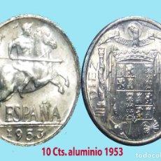 Monedas Franco: ESTADO ESPAÑOL (FRANCO) 10 CENTIMOS 1953 ALUMINIO.NUEVO. SC. FLOR DE CUÑO. CATº.10 €. Lote 199340163