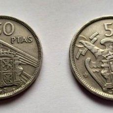 Monedas Franco: ## ESTADO ESPAÑOL 2 MONEDAS DE 50 PESETAS 1957 ESTRELLAS 58 Y 60 ##. Lote 201328321