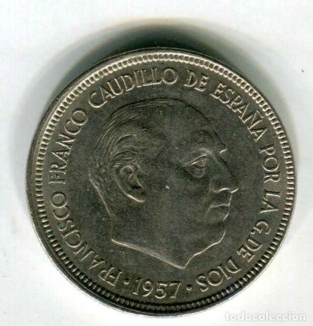 Monedas Franco: 5 (CINCO) PESETAS ESTADO ESPAÑOL AÑO 1957 *64 - Foto 2 - 201950783