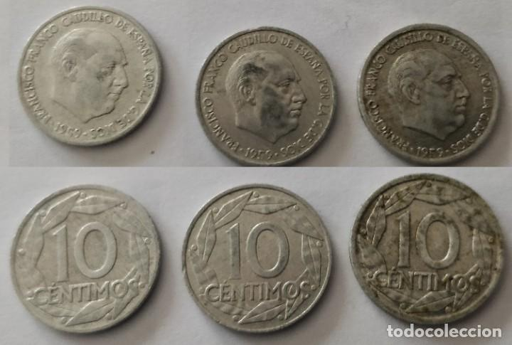 3 MONEDAS DE 10 CÉNTIMOS DE FRANCO 1959 (Numismática - España Modernas y Contemporáneas - Estado Español)