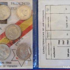 Monedas Franco: COLECCION MONEDAS FRANCO 100 PESETAS PLATA 1966 ESTRELLAS 66 67 68 69 PALO CURBO 70. Lote 205141017