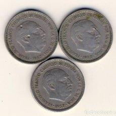 Monedas Franco: 3 MONEDAS DE 5 PESETAS, DE FRANCO.- 1957 *NO LEGIBLE.-(2). Lote 205680830