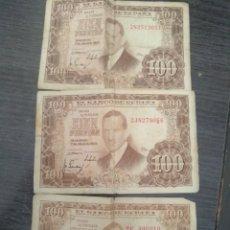 Monedas Franco: 3 BILLETES 100 PESETAS JULIO ROMERO. Lote 206450020