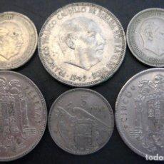 Monedas Franco: ESPAÑA, 3 MONEDAS DE 5 PESETAS 1949 + 3 DE 1957./ USADAS.. Lote 207248618
