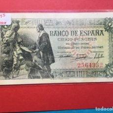 Monedas Franco: X-2151 )ESPAÑA,,5 PESETAS 1945,,SIN SERIE ,, EN ESTADO MUY BUENO NUEVO. Lote 207288302