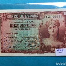 Monedas Franco: X-2153 )ESPAÑA,,10 PESETAS 1935,,CERTIFICADO DE PLATA,, EN ESTADO NUEVO. Lote 207289296