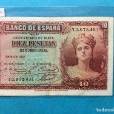 Monedas Franco: X-2154 )ESPAÑA,,10 PESETAS 1935 CERTIFICADO DE PLATA,, EN ESTADO MUY BUENO. Lote 207289706