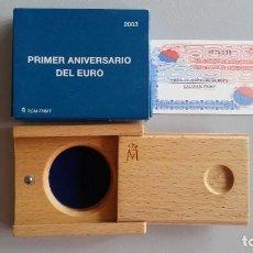 Monedas Franco: ESTUCHE VACIO 10 EUROS 2003 PRIMER ANIVERSARIO DEL EURO CON CERTIFICADO DIAMETRO 45MM.( CA35 ). Lote 207925713
