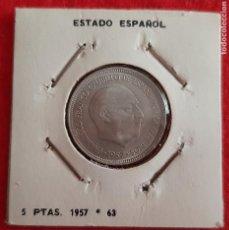 Monedas Franco: MONEDA 5 PESETAS FRANCO 1957 ESTRELLAS VISIBLES 19 63 EBC- ORIGINAL EEJ. Lote 209710093