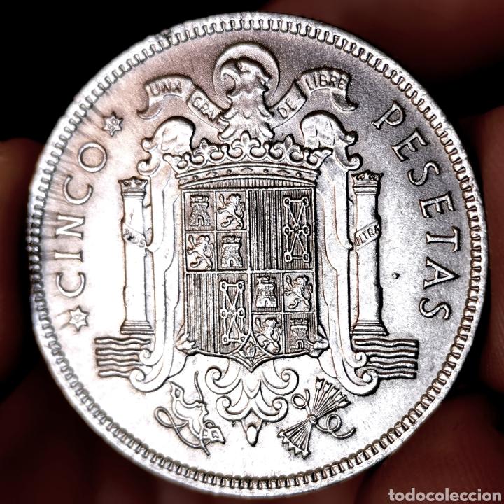 """Monedas Franco: G00. VARIANTE """"S0"""", CON LÍNEAS DE EXPANSIÓN. 5 pesetas 1949 *50. Precioso ejemplar - Foto 2 - 210065630"""
