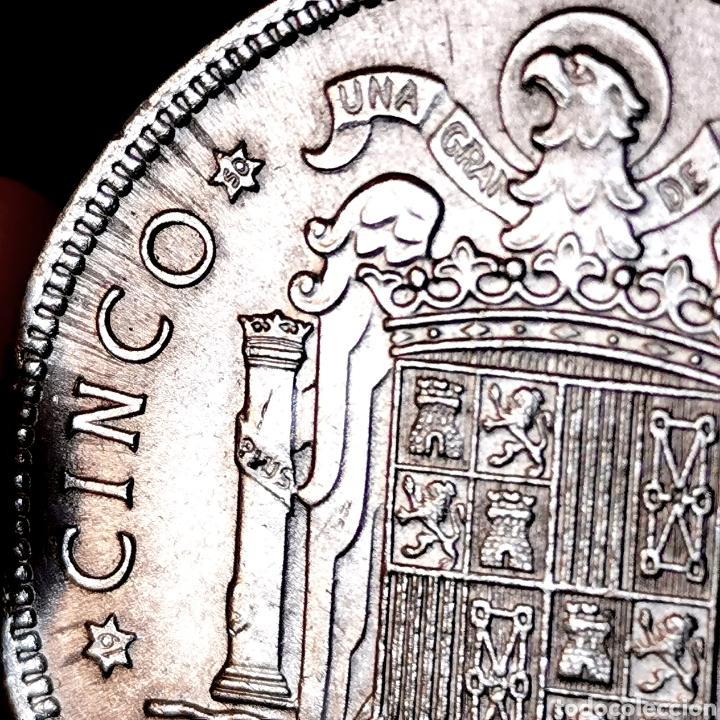 """Monedas Franco: G00. VARIANTE """"S0"""", CON LÍNEAS DE EXPANSIÓN. 5 pesetas 1949 *50. Precioso ejemplar - Foto 3 - 210065630"""