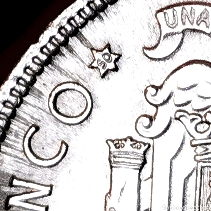 """Monedas Franco: G00. VARIANTE """"S0"""", CON LÍNEAS DE EXPANSIÓN. 5 pesetas 1949 *50. Precioso ejemplar - Foto 4 - 210065630"""