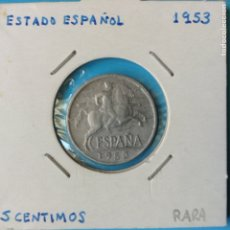 Monedas Franco: ESTADO ESPAÑOL 5 CENTIMOS AL 1953 ESCASA BUEN EJEMPLAR EBC. Lote 210280652