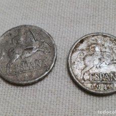 Monedas Franco: LOTE 45 MONEDAS 5 CÉNTIMOS 1941 Y 1945 USADAS. Lote 211511532