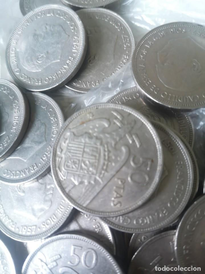 Monedas Franco: Lote 50 monedas 50 pesetas 1957 - Foto 3 - 212238705