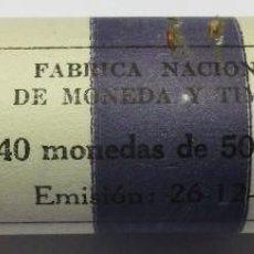 Monedas Franco: CARTUCHO OFICIAL DE FABRICA NACIONAL DE MONEDA Y TIMBRE, 40 MONEDAS DE 50 PTAS DE 1957*59 LOTE 3288. Lote 212583410