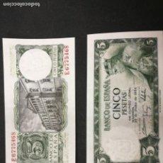 Monedas Franco: 2 BILLETES 5 PESETAS 1954 SIN CIRCULAR. Lote 213389546
