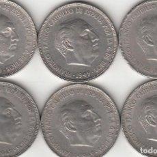 Monedas Franco: FRANCO: 6 MONEDAS 5 PESETAS 1949 ESTRELLAS 19-50. Lote 213875638