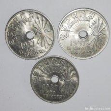 Monedas Franco: LOTE DE 3 MONEDAS DE 25 CÉNTIMOS AÑO 1937 SC. Lote 214454836