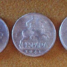 Monedas Franco: 5 CÉNTIMOS DE PESETA 1940, 1941 Y 1945 (JINETE IBERO) _ 3 MONEDAS _ ESPAÑA _ VER FOTOS.!!. Lote 214897266